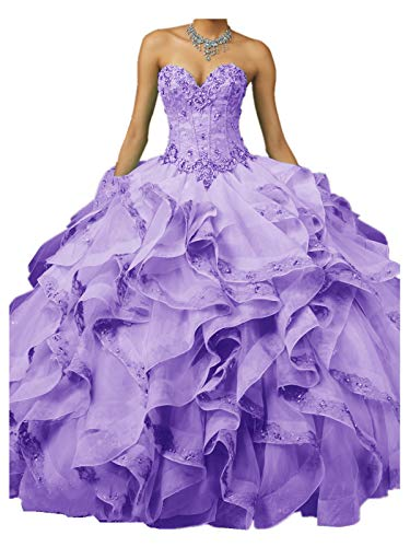 XSWPL 2018 Sweetheart Quinceanera Dresses Beaded Ball Gown Sweet 16 Princess Dress Lavender US8