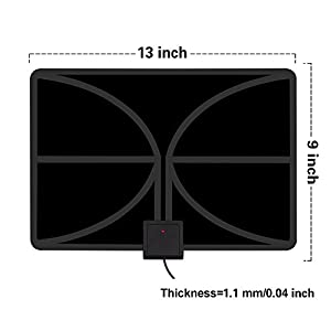 HDTV Antenna, Indoor Amplified TV Antenna 50+ Mile Range with Detachable Amplifier Signal Booster and 10 Feet Thicker Coaxial Cable (Black)