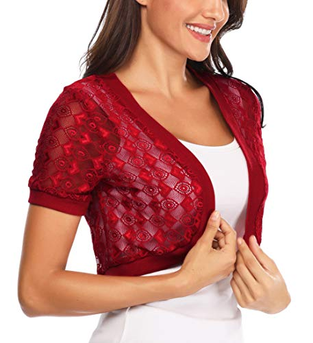 Aranmei Womens Short Sleeve Floral lace Shrug Open Bolero Cardigan(Wine Red, Small)