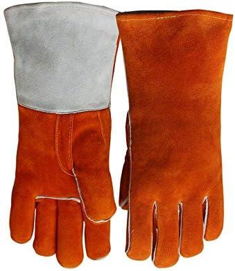 労働保護作業用手袋 作業革手袋長い高温労働保険溶接手袋 (Color : Orange, Size : L)