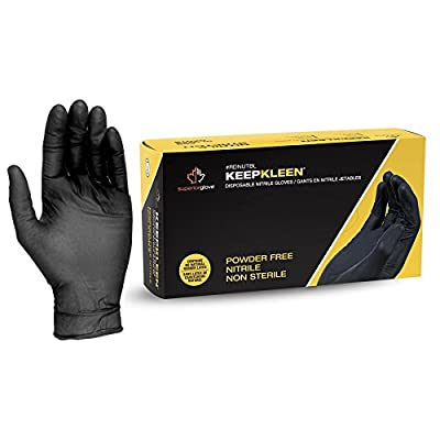 """Superior Black Nitrile Gloves, Latex Free Glove, Disposable Gloves, Powder Free, Ultra Thin 3.5 mil Thickness, 9"""" Length, Sizes S, M, L, XL, XX-Large (Box of 200)"""