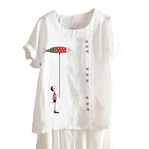 (TUSANG Women Tees Plus Size Short Sleeve Loose Comfy Tunic Linen O-Neck Print Blouse Top T-Shirt(A-White,US-16/CN-4XL))