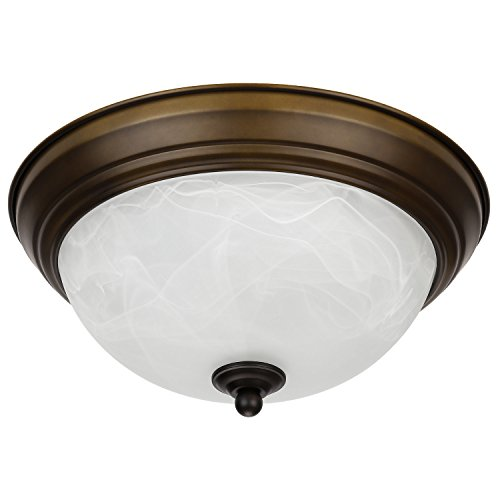LEONLITE Dimmable 11-Inch LED Flush Mount Ceiling Light Fixture, 15W (80W Equivalent), 3000K Warm White, Alabaster Glass Shade, 1050 Lumens, ETL Listed, 5 Years Warranty, Oil Rubbed Bronze