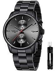 Montres pour Hommes avec Montre à Quartz chronographe étanche décontractée en Acier Inoxydable et en métal, Date Automatique dans des Mains colorées