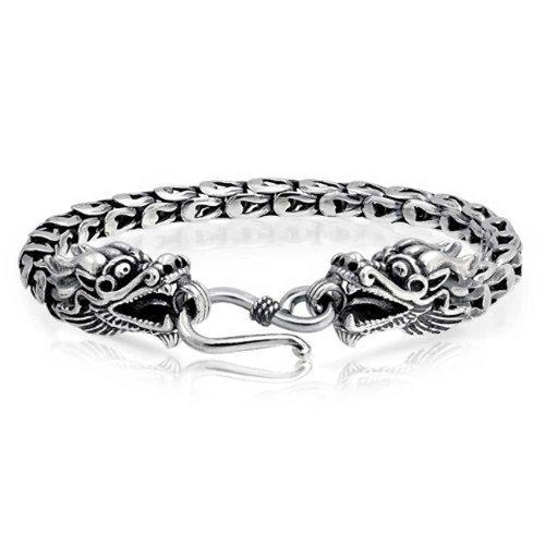 : Bali Style Asian Dragon Heads Eye Hook Clasp Bracelet For Women For Men Antiqued 925 Sterling Silver