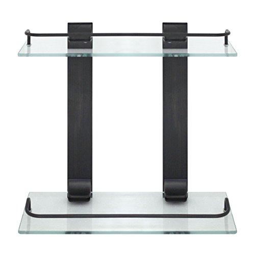 MODONA Double Glass Wall Shelf with Rail – Rubbed Bronze – 5 Year Warrantee