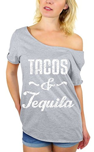 Awkwardstyles Women's Tacos & Tequila White Off Shoulder Tops T-shirt + Bookmark L Gray (Imported Tequila)