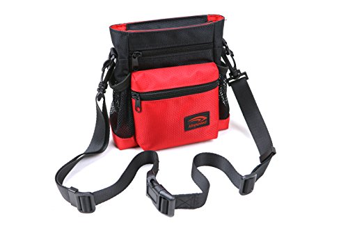 Kingspeed Dog Treat Bag Dog Training Pouch for Treats & Toys Lightweight & Stylish Treat Tote with YKK Zippered Compartments & Mesh Pockets Shoulder & Waist Pet Treat Pouch Red & Black For Sale