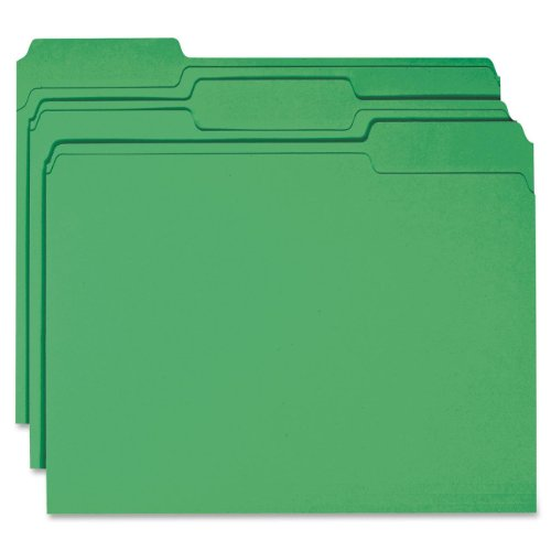 (Smead File Folder, Reinforced 1/3-Cut Tab, Letter Size, Green, 100 per Box (12134))