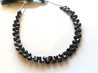 8 Inches Strand. -Full Strand of rare -Black spinal-Faceted Hearts 4x4mm SHRI NATH GEMS & JEWELLERY