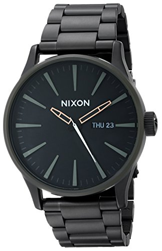 Nixon Sentry SS Stainless Steel Day/Date 42mm WR 100 Meters Mens Watch A356