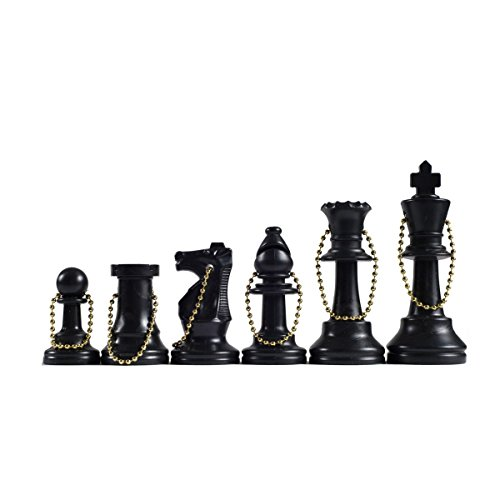 WE Games Keychain Bag Tag Chessmen -Includes 17 pieces in black Bag Key Tag