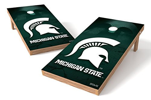 Wild Sports NCAA College Sports Wooden Cornhole Set - Michigan State Spartans 2' x 4' Authentic Cornhole Game (Michigan State Bean Bag)