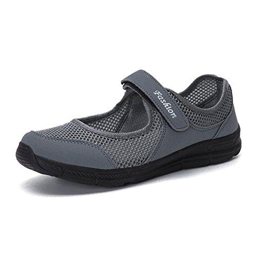 Zapatos de Mujer de Verano de Tul Transpirable Saludable Step Mom Shoes Mocasines Planos Antideslizantes Zapatos de Mujer de Mediana Edad Do