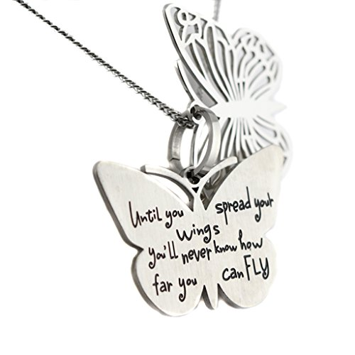 Filigree Butterfly Inspirational Two Piece Pendant Spread Your Wings Necklace