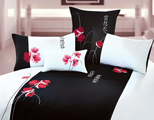 Black and White King Duvet 3 piece Full Cover Set ''Florist'' with Embroidered Oriental Flower Design 100% Cotton Sateen Orient Sense by Orient Sense