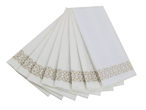 Guest Linen Decorative Hand Napkins 200 Pack Gold Lace Cloth Like Paper Disposable Bathroom