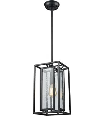 Pendants 1 Light With Textured Black Finish Seedy Panels Medium Base 8 inch 60 Watts - World of Lamp
