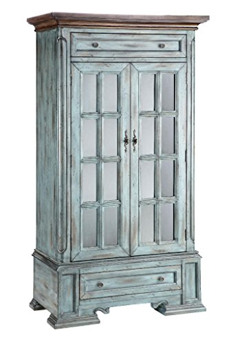 Dining Room Kitchen Hutch - Stein World Furniture Hartford Cabinet, Antique Blue and Wood Tone
