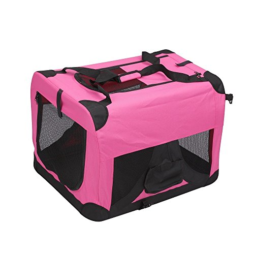 Magshion Folding Soft Crates Kennels Travel Carrier with Metal Frame, 36-Inch, for Pet Up to 60lb (Pink)