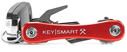 KeySmart Rugged - Multi-Tool Key Holder with Bottle Opener and Pocket Clip (up to 14 Keys, Red)