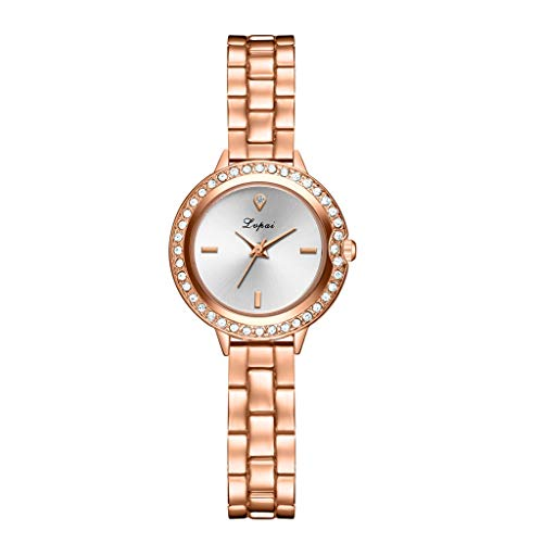 (LUCAMORE Women's Ladies Quartz Watch Rhinestone Round Analog Watches Stainless Steel Bracelet Wrist Watches on Sale)