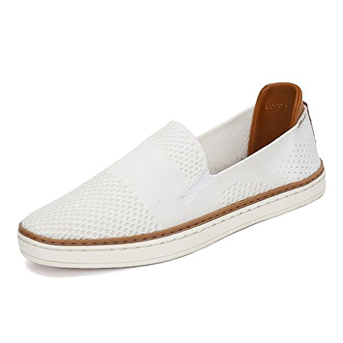TRULAND Women's Slip On Casual Loafers Fashion Sneakers Tennis Skate Flats Shoes Espadrille (7.5 D(M) US,White)