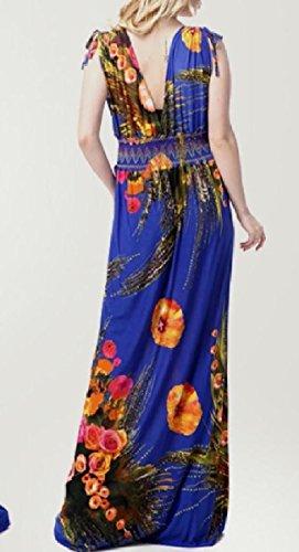 Coolred-femmes Sans Manches Longueur Du Cou Flyaway Plus La Taille V Cheville Robe Bleue