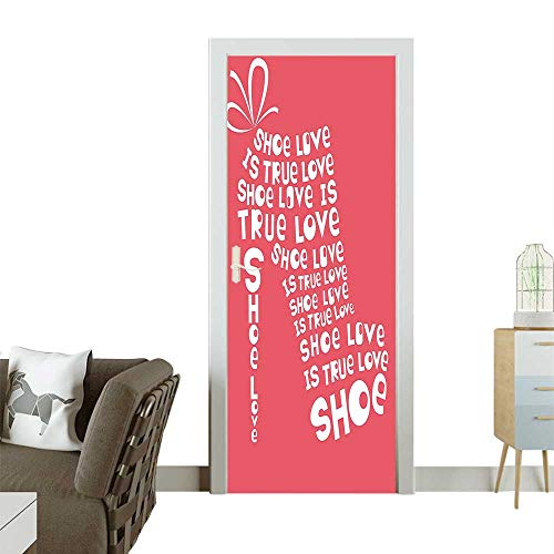 Door Sticker Wall Decals Shoe Love Love Fashi Colored Shoe Made from Quot Funny Coral White Easy to Peel and StickW36 x H79 INCH ()