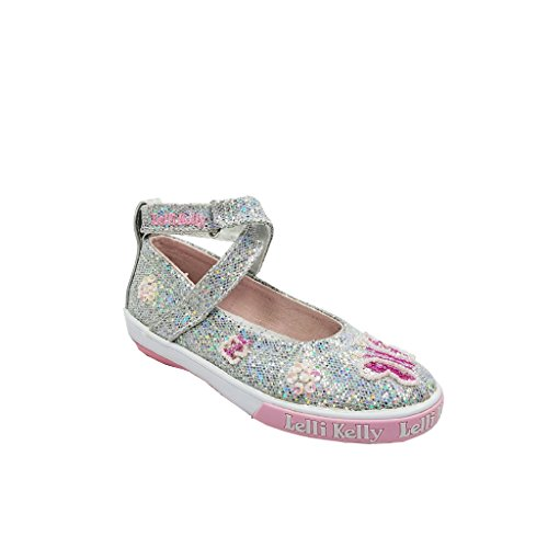 [Lelli Kelly Papillion Silver Glitter Criss Cross Mary Janes Beaded Shoes EU 28 US 10 Toddlers] (Criss Cross Mary Jane)