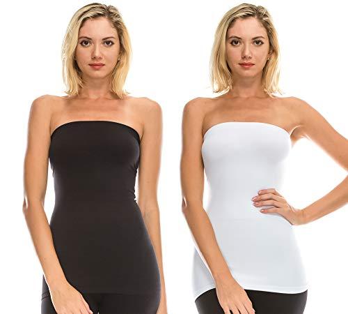 Kurve Women's Seamless Stretch Long Bandeau Tube Top (XS/S, M/L, L/XL, XL/XXL) -Made in USA- Black-White ()