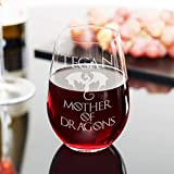 Mother of Dragons Wine Glass - Personalized Game of Thrones Merchandise, Gift for Mom, Gift for Him or Her, Stemless Wine Glass set of 4,6,8, or 12. Large 21oz that doubles as water or juice Glass!