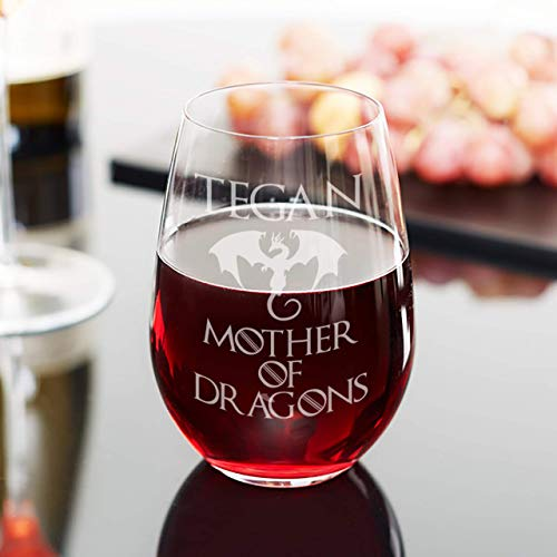 Mother of Dragons Wine Glass - Personalized Game of Thrones Merchandise, Gift for Mom, Gift for Him or Her, Stemless Wine Glass set of 4,6,8, or 12. Large 21oz that doubles as water or juice Glass!]()