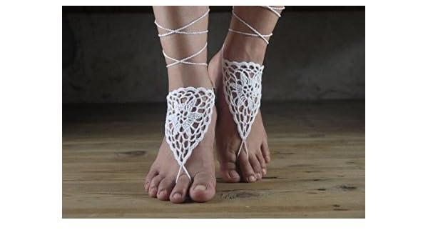 8a6aa9c47ee1 Amazon.com  Beach Wedding White Crochet Barefoot Sandals-nude Shoes-foot  Jewelry-bridal Barefoot Sandal-bridal Lace Shoes-wedding  Accessory-bridesmaid  Arts ...