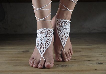 Beach Wedding White Crochet Barefoot Sandals-nude Shoes-foot Jewelry-bridal Barefoot Sandal-bridal Lace Shoes-wedding Accessory-bridesmaid
