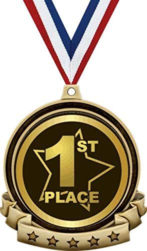 Amazon Com 1st Place Medals 2 5 Gold First Place Medal Award Includes Red White And Blue Neck Ribbon Great First Place Awards 1 Pack Prime Sports Outdoors