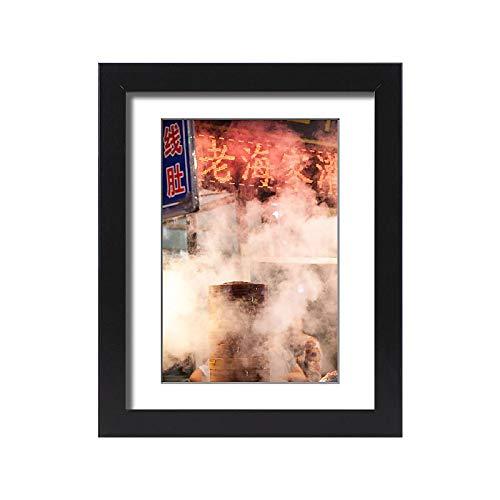 Media Storehouse Framed 15x11 Print of Chinese Dumpling Steamer in Xian Street at Night (13519867) (Best Dumplings In Beijing)