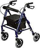 Rollator Rolling Walker with Medical Curved Back Soft Seat (BLUE)