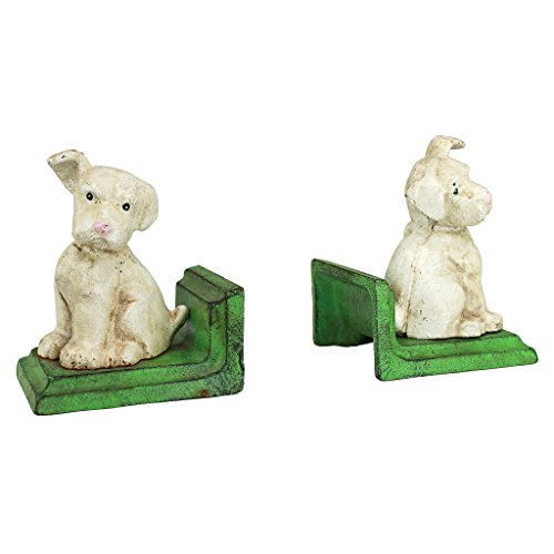 Design Toscano Wheaten Scottish Terrier Dogs Cast Iron Sculptural Bookend Pair, Full Color