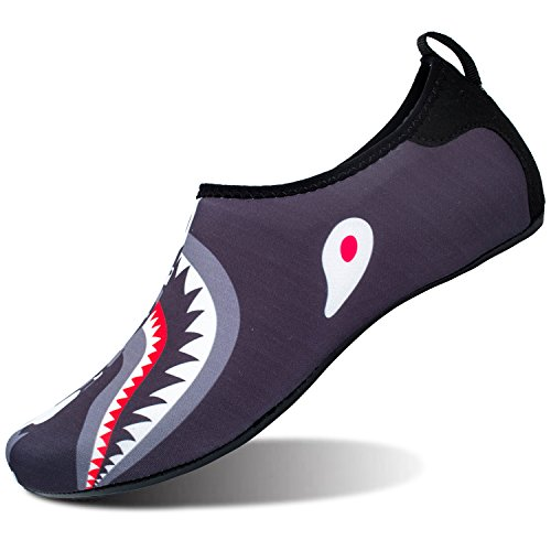 JOINFREE Men's Water Shoes Women's Water Footwear Quick-Dry Kid Aqua Shoes Swim Shoe for YOG Camo Shark Large