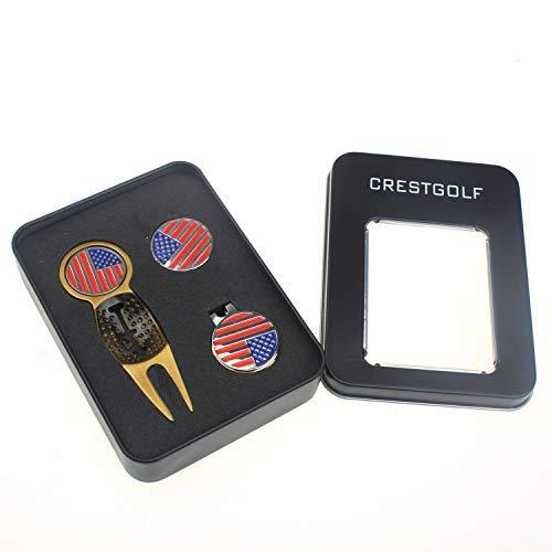 Golf Ball Cap Divot Tool (Crestgolf 3-in-1 Golf Divot Tool Golf Ball Marker and Cap Clip with 3 Ball Markers)