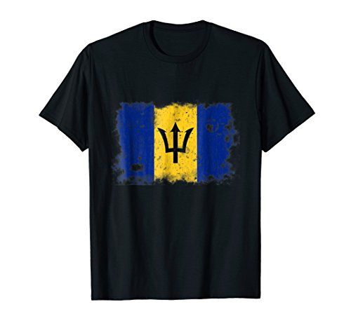 Barbados Flag Vintage Logo Old Print Bajan T-Shirt Men (Indie Retro Old Shirt)