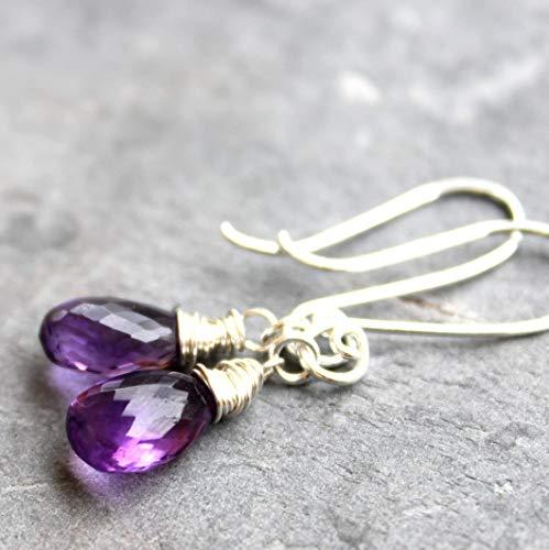 Amethyst Earrings Purple Sterling Silver Petite Dangle Gemstone - Amethyst Dangle Briolette