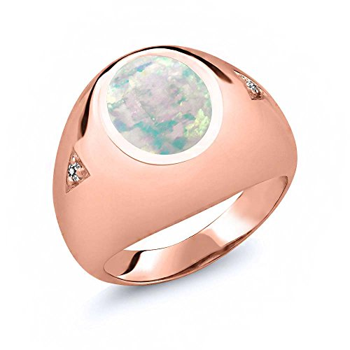 - Gem Stone King 4.07 Ct Oval Cabochon White Simulated Opal White Diamond 18K Rose Gold Plated Silver Men's Ring (Size 8)