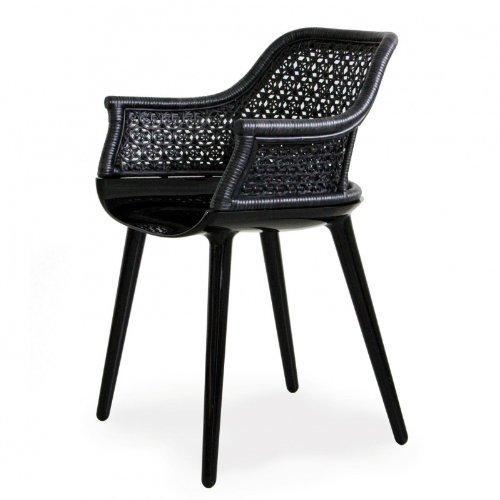 Magis Cyborg Elegant Sessel/Armlehnstuhl, schwarz glänzend Rückenlehne schwarz Peddigrohr