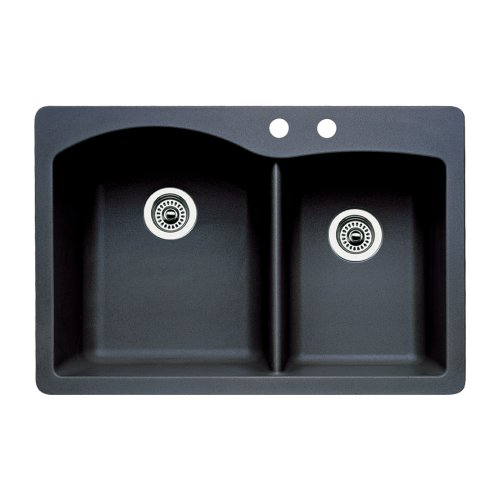Blanco 440215-2 Diamond 2-Hole Double-Basin Drop-In or Undermount Granite Kitchen Sink, Anthracite
