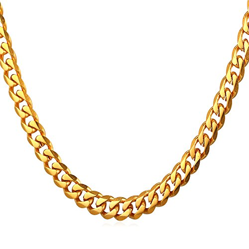 U7 6mm Chain Necklace 18K Stamp Jewelry Fashion Gold Plated Cuban Curb Chain 18 Inch ()