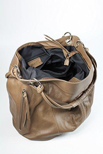 Belli - Bolso de tela de cuero para mujer marrón pardo