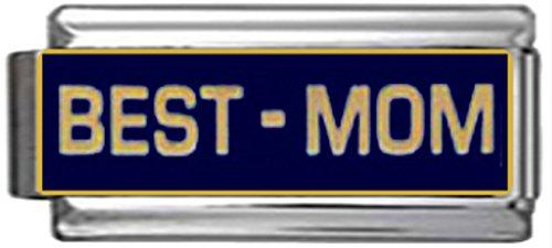 - Stylysh Charms Best MOM Navy Blue Enamel Italian 9mm Link FA070