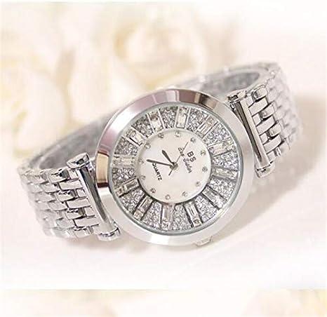 TKFY Reloj de Pulsera de Diamantes Redondos para Mujer Caja de Reloj Movimiento de Cuarzo analógico Reloj Impermeable de Pulsera Oro Plata Oro Rosa,Plata: Amazon.es: Deportes y aire libre